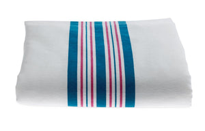 Kuddle-Up Flannel Baby Blankets,White w/Pink and Blue Border, Each