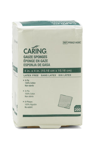 Caring Woven Non-Sterile Gauze Sponges, Bag of 200