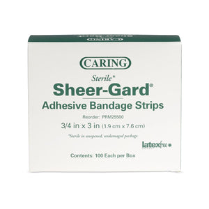 Caring Plastic Adhesive Bandages,Natural,No, Box of 100
