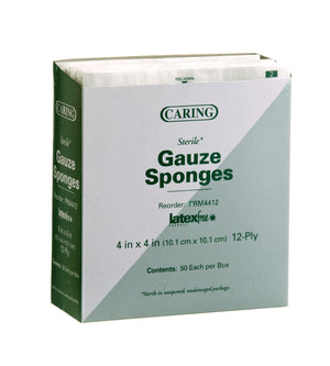 Caring Woven Sterile Gauze Sponges, Box of 50