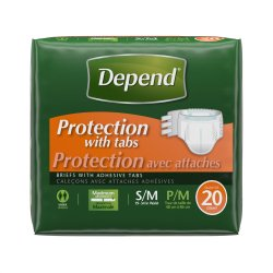 Depend Absorbent Disposable Adult Incontinent Brief Tab Closure