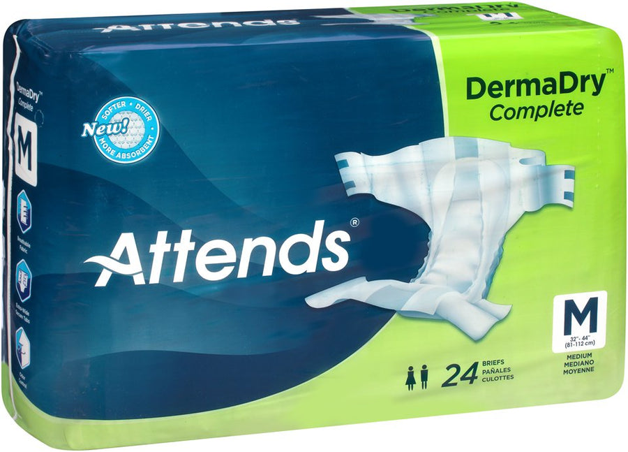 Attends DermaDry Absorbent Disposable Adult Incontinent Brief Tab Closure