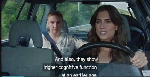 "Marnie quote: ""And also, they show higher cognitive function at an earlier age"""
