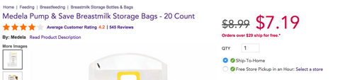 Medela breastmilk storage bags
