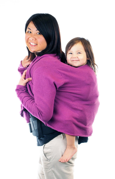 Babywearing sweater Cardimom with baby in baby carrier carrying on back