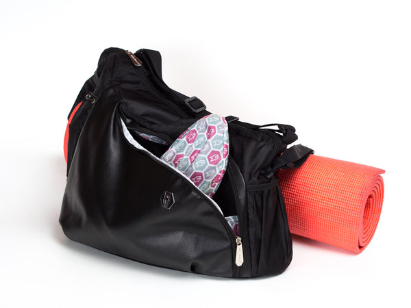 Command Tote comes with shoe covers and yoga straps
