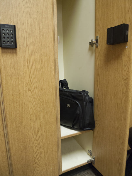 Bags fit easily into a standard gym locker