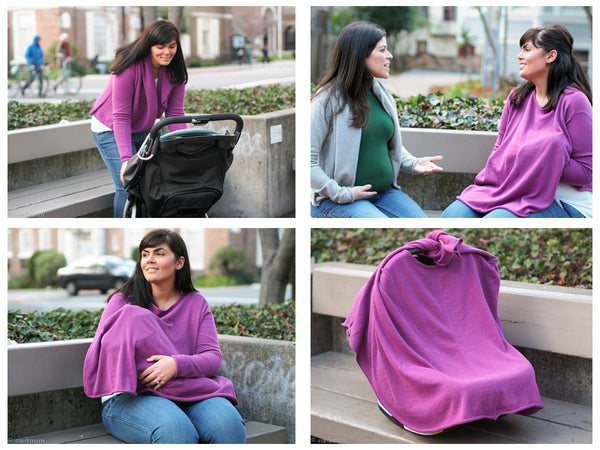 Cardimom shown in 4 uses: cardigan, nursing cover, carseat cover, and poncho