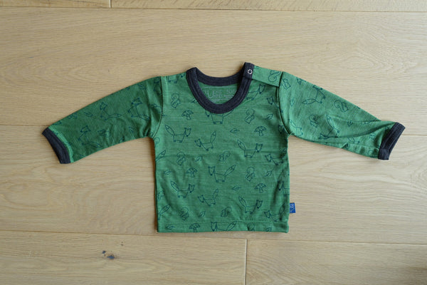 Glückskind: baby shirt hemd hemdchen kind kleinkind toddler amazonas grün green merino seide silk wool 100% bio öko gots bluesign salzburg handcrafted original local