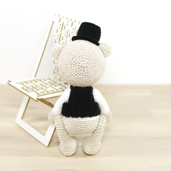 PATTERN: Classic teddy bear in a top hat and vest