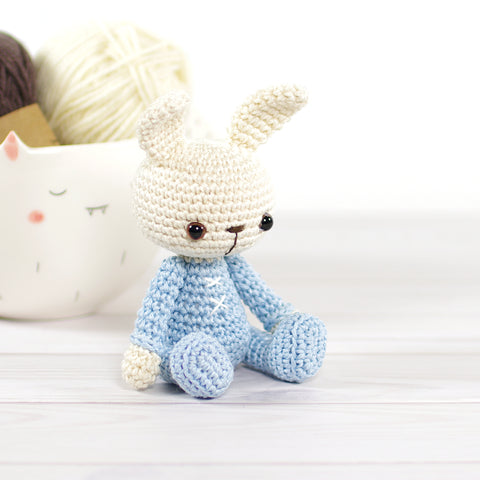 Small Bunny in Blue Pajamas