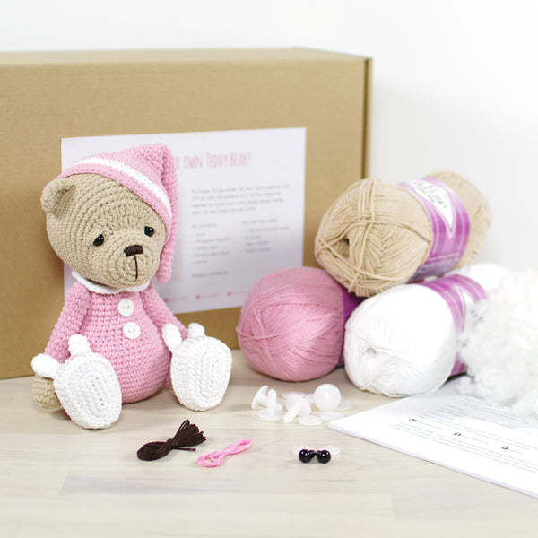 CROCHET KIT: Sleepy teddy bear, pink
