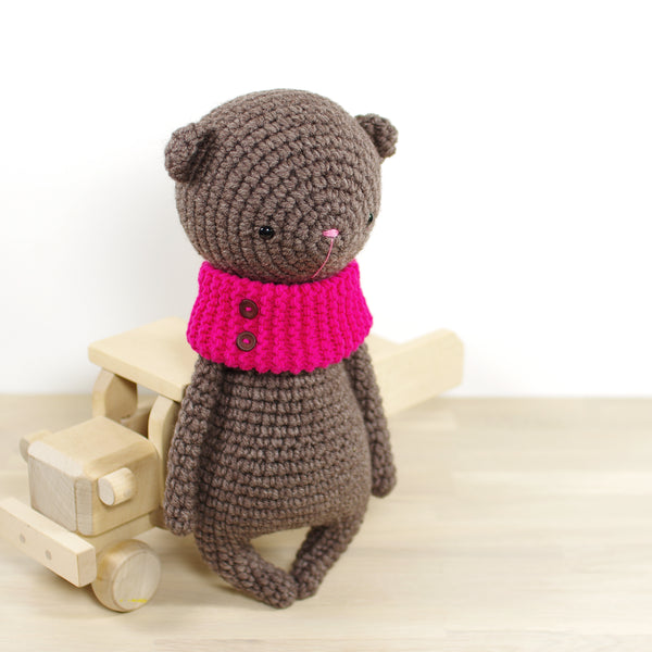 Teddy Bear in a Bright Pink Cowl
