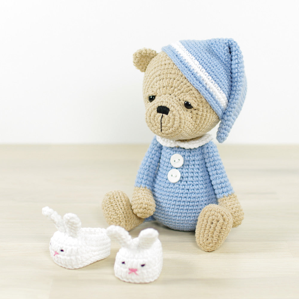 Sleepy Teddy in Pajamas and Bunny Slippers Crochet pattern by ... | 1000x1000