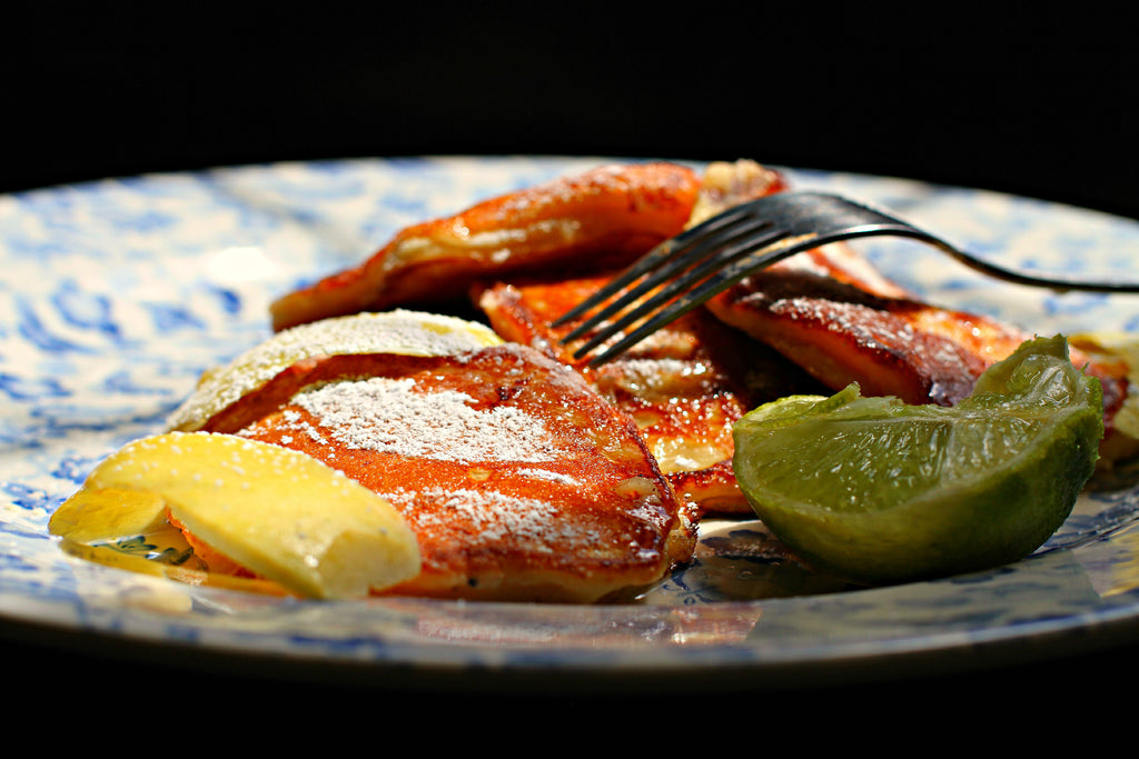 Apple, yoghurt, cardamom and lime pancakes