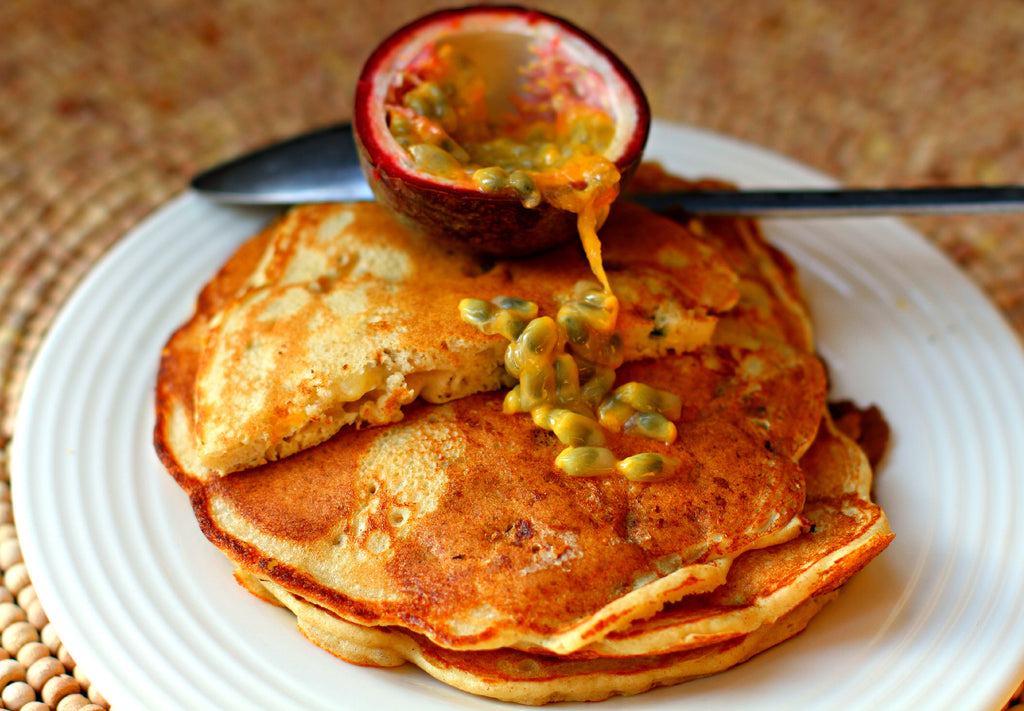 Buckwheat, banana and passion fruit pancakes Breakfast