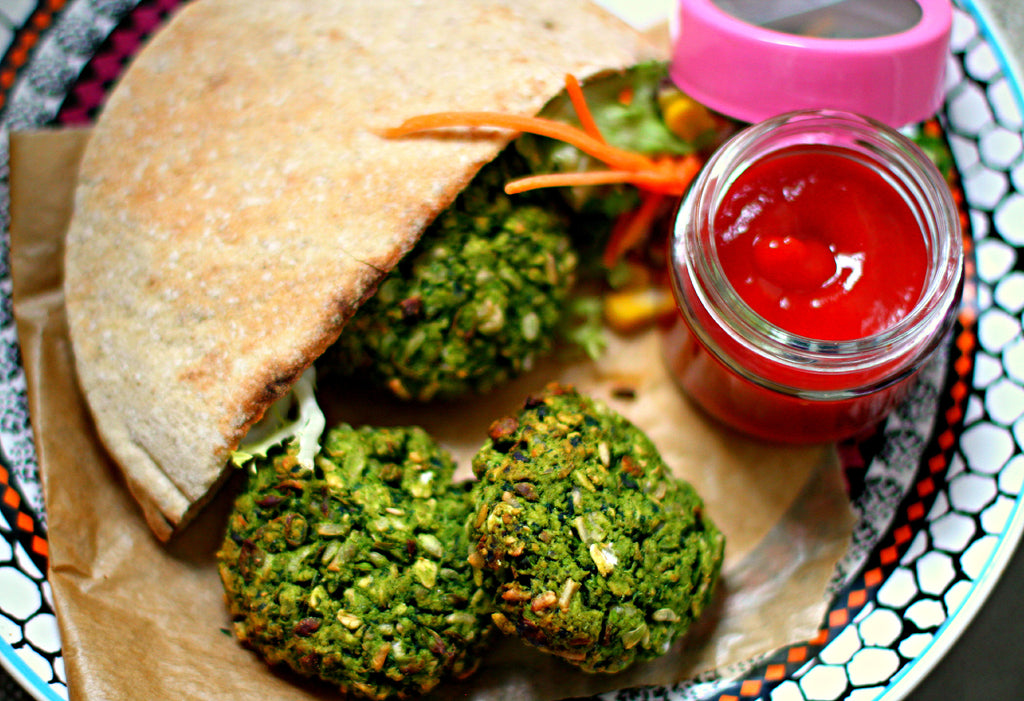 Pea, spinach and brown rice patties (oil-free and vegan)