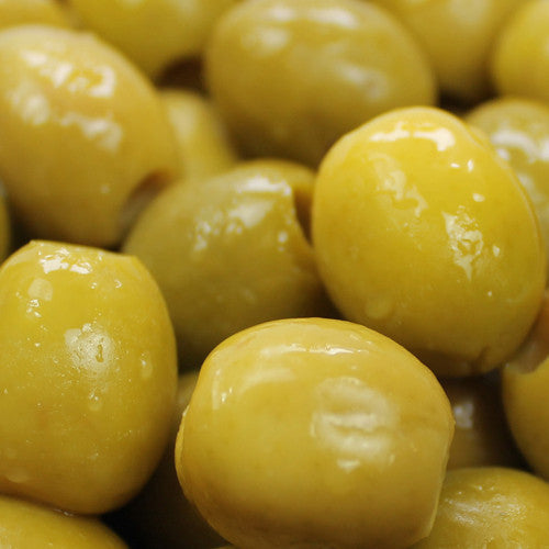 Pitted Green Manzanilla Olives in Anchovy Brine