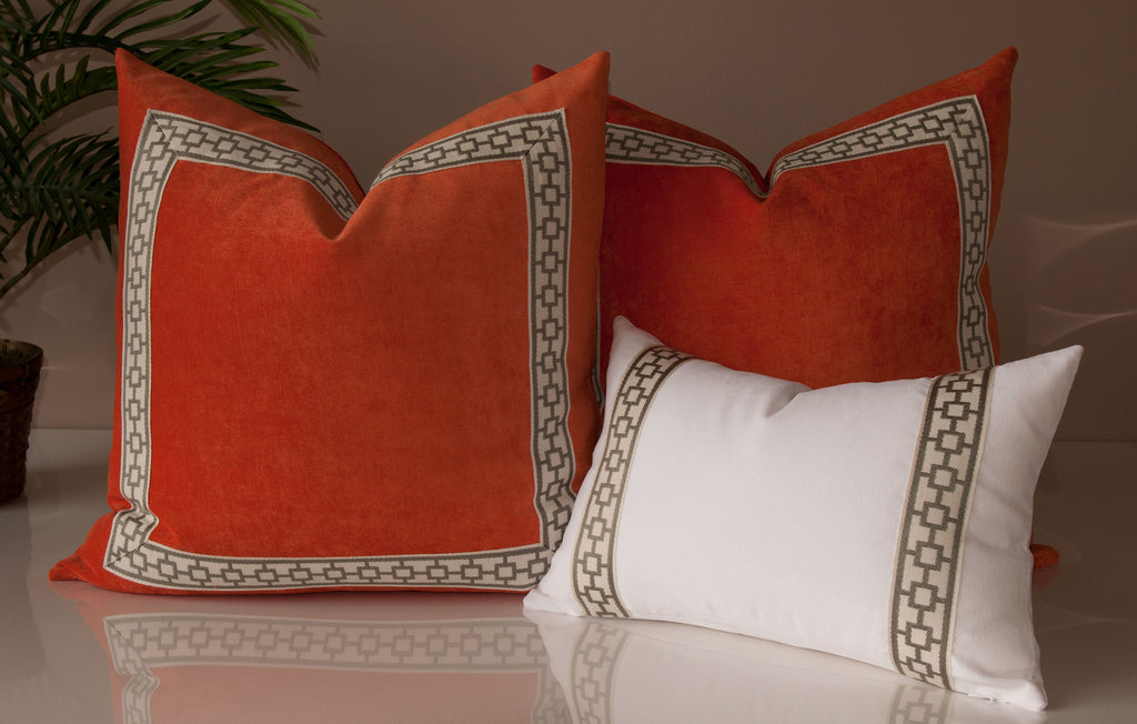 Orange Velvet Throw Pillows with Geometric Trim