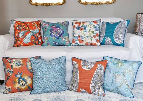 Robert Allen Modern Salon - Orange and Teal Throw Pillows - Persimmon Pillows - Peacock Pillows