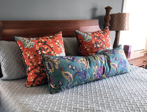 Persimmon Pillows - Peacock Pillows - Floral Pillows in Teal - Orange and Teal
