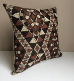 Kilim Pillow Cover -Robert Allen Fabric -Designer Pillow Cover -Tribal Pillow -Brown Pillow -Beige Pillow -Geometric Pattern -Aztec Pattern