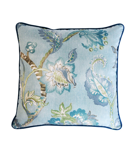 Aqua Pillow Cover -Robert Allen Pillow Cover -Designer Pillow Cover -Floral Print Pillow Cover -Teal Pillows- Flower Print -Aqua Blue Pillow