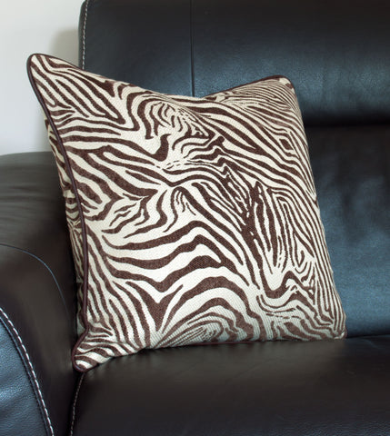 Brilliant Brown Zebra Print Throw Pillow Cover With Leather Piping Uwap Interior Chair Design Uwaporg