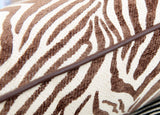 Brown Zebra Print Throw Pillow with Leather Piping