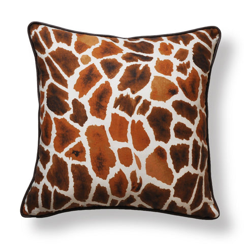 Thibaut Pillow Covers - Giraffe Print Covers - Linen Pillow Covers - Tobacco Throw Pillow - Animal Print Pillow Covers
