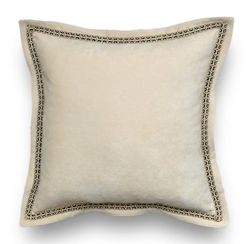 Cream Velvet Throw Pillow Cover -Cream White Pillow Cover- Embellished Pillow Cover -Velvet Pillow Cover -Flange Pillow -Trim Pillow