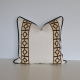 Linen Pillow Cover in Ivory White with Black and Gold Trim