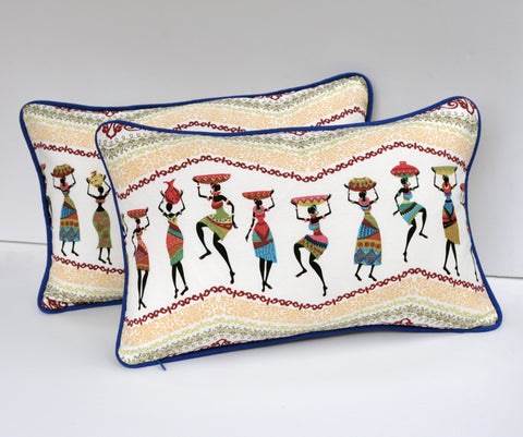 African Motif Pillows - Set of Two Pillow Covers