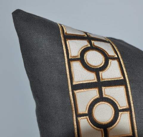 Charcoal Gray Pillow Cover with Gold Geo Tape Trim