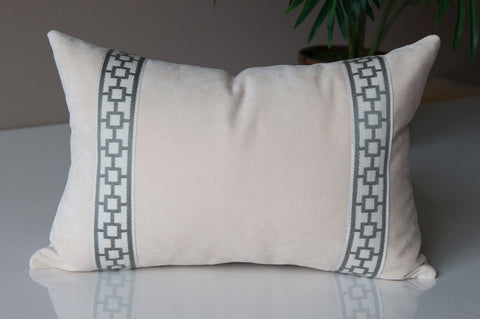 Ivory Velvet Throw Pillow Cover -Solid Throw Pillow Cover- White Throw Pillows -Velvet Pillow Cover -Flange Pillow with Trim -Geometric Trim