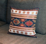 KILIM PILLOW Cover - Turkish Pillow -Tribal Pillow Cover -Ethnic Pillow -Geometric Pattern -Navy White Pillow -Kilim Throw Pillow