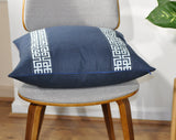 Navy Linen Pillow Cover - Linen Pillows -Greek Keys Pillow -Euro Pillow Cover- Pillow with Trim -Geometric Print - Navy Blue Pillow Cover