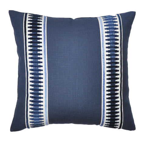 Navy Linen Pillow Cover - Navy Blue Pillow Cover  -Euro Pillow Cover- Pillow with Trim -Geometric Print -Raised Velvet Trim