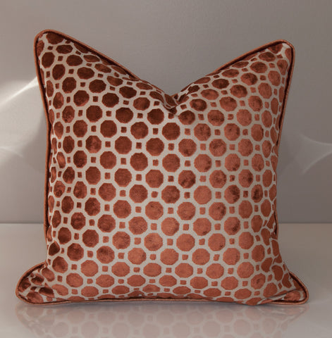 Copper Velvet Throw Pillow Cover - Geometric Pillows -Robert Allen Geo in Copper - Velvet Pillow Covers- Copper Pillows- Geometric Pattern
