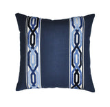 Navy Blue Linen Pillow Cover with Geometric Trim