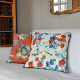 Floral Pillow Cover -Robert Allen Pillow Cover -Designer Pillow Cover -Beige, Orange and Blue - Burnt Orange - Pillow with Piping
