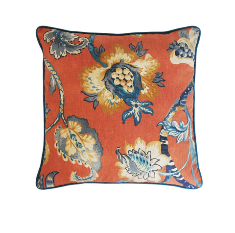 Persimmon Pillow Cover -Robert Allen Pillow Cover -Designer Pillow Cover -Floral Print Pillow Cover -Orange and Teal - Burnt Orange