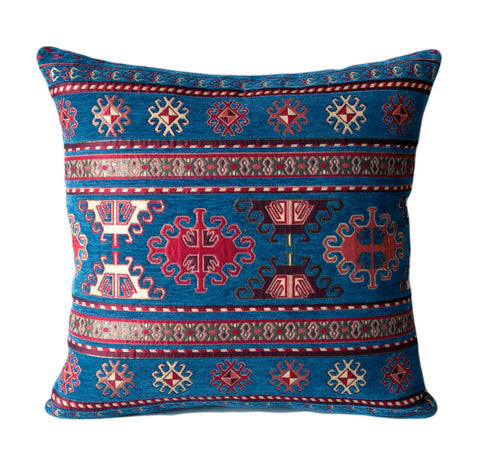 KILIM PILLOW Cover -Turkish Pillow -Tribal Pillow Cover -Ethnic Pillow Cover -Geometric -Chenille Pillow -Blue Pillows- Blue and Gold