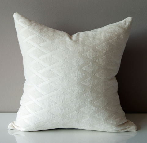 Cream White Pillow Cover - Chenille Pillow Cover - White Pillow Cover - Cream Pillow Cover - Diamond Pattern - Kravet Throw Pillow