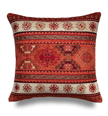 KILIM PILLOW Cover -Turkish Pillow -Tribal Pillow Cover -Ethnic Pillow Cover -Geometric Pattern -Orange and Cream Pillow -Kilim Throw Pillow