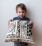 Throw Pillow Cover Made with Robert Allen Fabric -Designer Pillow Cover -Tribal Pillow -Black Pillow -Black and Ivory Pillow -Geometric