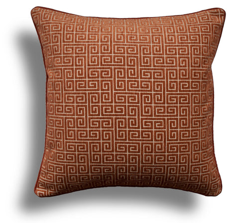 Greek Key Velvet Throw Pillow Cover in Burnt Orange