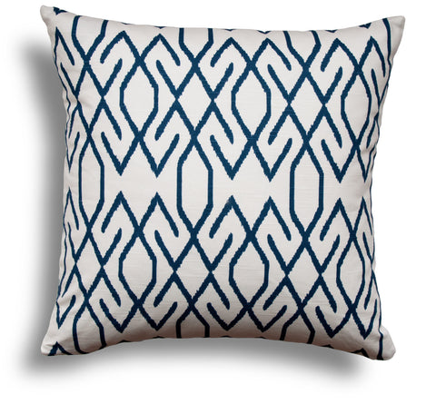 Navy Pillow Cover - Tribal Throw Pillow Cover - Navy Throw Pillows - Couch Pillow Cover - Blue and White Pillow Cover - White Pillow Cover