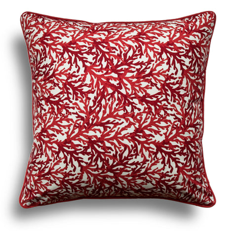 Coral Throw Pillows - Red Throw Pillow Cover - Designer Pillow Cover - Decorative Pillow Cover - Nautical Pillows - Nautical Throw Pillows