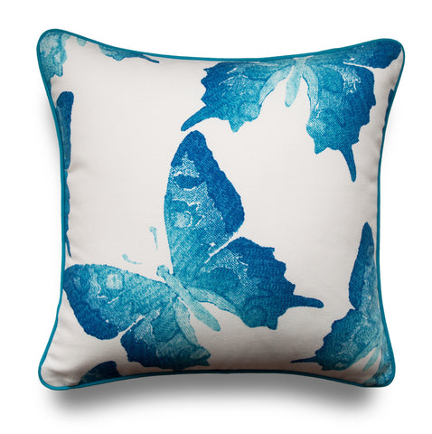 OUTDOOR PILLOW COVERS -  Butterfly Pillow Cover - Turquoise Pillow Cover - Blue Pillow Cover - Patio Pillow Cover - Designer Pillow Cover